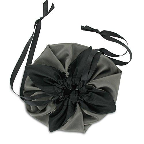 SiaLinda: Pompadour Tasche, verschiedene Farben außen/schwarz innen, Satin. Beuteltasche Damen Zugbeutel. Inkl. Geschenkverpackung. Made in Germany.