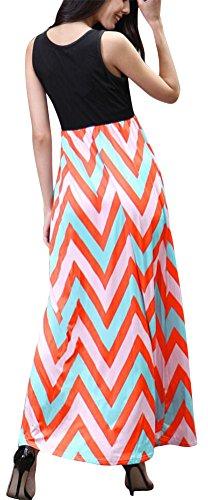 SMITHROAD Damen Strandkleid Sommerkleid BOHO Style Maxi Lange Kleid Stretch Patchwork Welle Colorblock Hochbund 7 Farben Gr.34 bis 44 L870 Orange