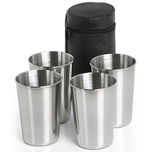 TRIXES Juego Compacto de 4 Vasos para Viaje en Acero Inoxidable con Bolso Símil Cuero