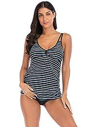 7dac9e65c1a Wellwits Women's Cutout Strap Stripes Pregant Maternity Tankini Swimsuit