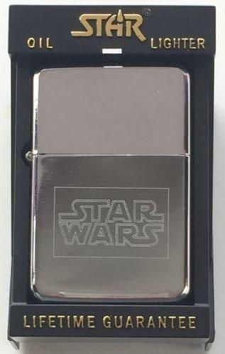 Star Wars Stern silber Benzin Feuerzeug (T14) + 59mm knopf-abzeichen (Emblem-knöpfe)