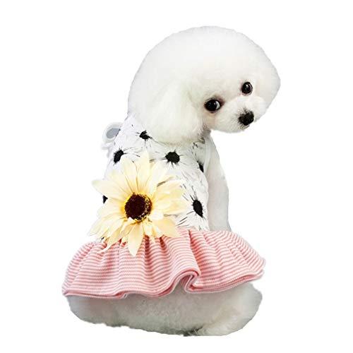 AMURAO Sommer Cute Pet Kleider Sunflower Dot Hunde Kleidung Cat Cotton Jumpsuit für Chihuahua Puppy Zubehör -