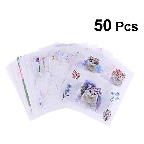 Toyvian 50 stücke kreative Nette klar DIY sammelalbum Planer schreibwaren Aufkleber Blatt für Erwachsene Kind mädchen Hand konto Machen (Traum rosa Muster)
