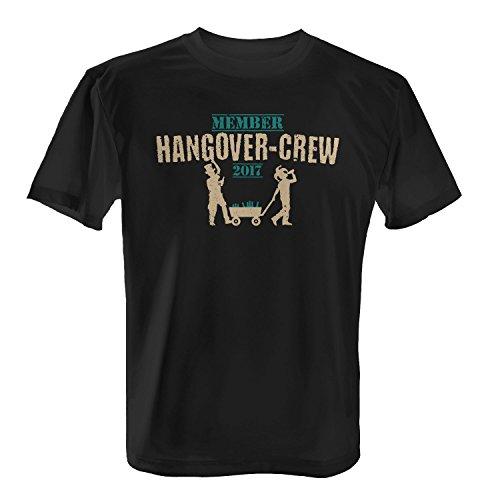 Fashionalarm Herren T-Shirt - Member Hangover-Crew 2017 | Fun Shirt mit Bier & Bollerwagen Motiv zur Vatertag Herrentag Christi Himmelfahrt Party Schwarz