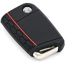 Schlüssel Hülle VB für 3 Tasten Auto Schlüssel Silikon Cover von Finest-Folia (Schwarz Rot)