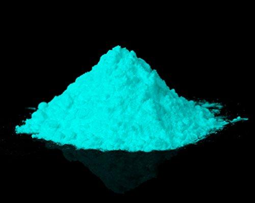 Preisvergleich Produktbild Premium Glühpulver - Profi Leuchtpigmente, Selbstleuchtende Farbpigmente, Nachleuchtpulver, Nachtleuchtpulver, UV Farbpulver, Glühfarbe, Nachleuchtpigment, Nachleucht-Pigment, Leuchtfarbe, Schwarzlicht-Pulver, Glühpulver, Glühpigmente (Strontium Aluminate | Ungiftig | ultra stark) (40 g; Grün-Blau)