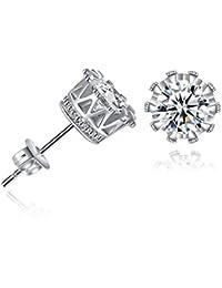 Swarovski Princess Crown High Quality CZ Stud Earrings For Women & Girls By DC Jewels