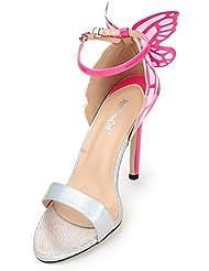 Sandalias Zapatos de Mujeres Elegantes de Tacón Alto Huecos Diseño de la Mariposa