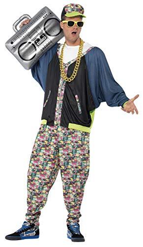 Smiffys Herren 80er Hip Hop Kostüm, Jacke, Hose und Mütze, Größe: M, 43198