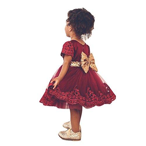 Rote Kleinkinder Baby Mädchen Kleider hibote Taufkleid Spitze Prinzessin Kleid Hochzeit Festlich...