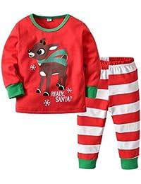 Baby Christmas Deer Pajamas Set Camiseta de manga larga Top y pantalón 2 piezas Homewear para Boy Girl