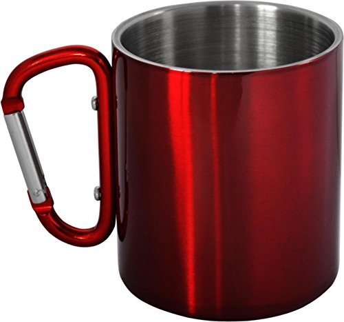 Doppelwandige Edelstahl Tasse 330 ml mit Karabinerhaken Farbe Rot