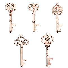 Idea Regalo - Portachiavi apribottiglie - assortiti vintage Skeleton Keys, matrimonio, feste, confezione da 25, rosa e oro)