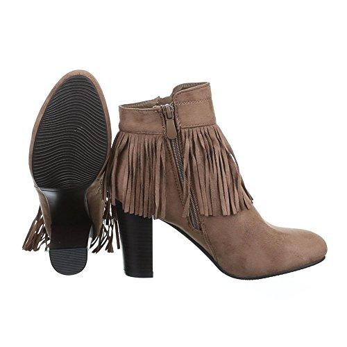 Damen Schuhe High Heels Schlupfstiefel Reißverschluss High Heel Stiefeletten Stiefeletten Pump Hellbraun