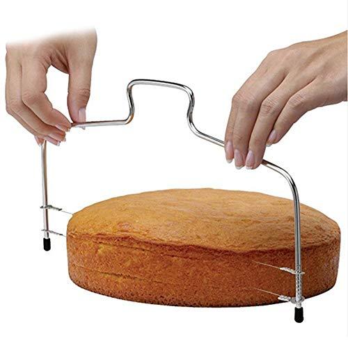 Neue Double Line Einstellbare Backenwerkzeuge Kuchen Brot Slicer Cutter Saiten Messer Seifenmesser Diy Form Edelstahl Kuchen Werkzeuge, Silber