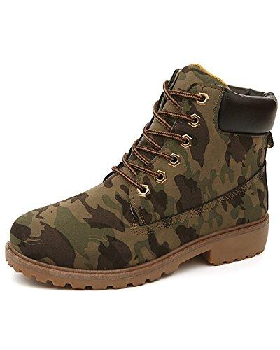 Minetom Mujer Retro Otoño Invierno Botines Calentar Botas De Nieve Anti-deslizante Lazada Zapatos Botas de Trabajo Camouflage EU 37