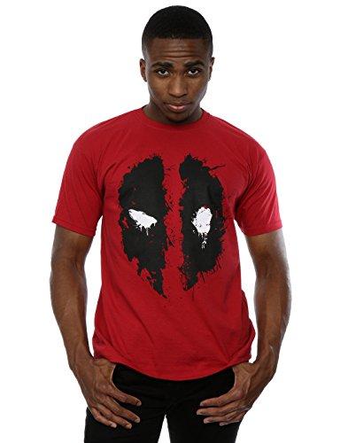 Marvel Herren Deadpool Splat Face T-Shirt, Ziegelrot, M,Ziegelrot