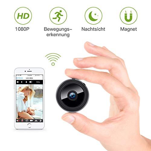 Mini Kamera, KinCam 1080P Full HD Wireless Tragbare Kleine Überwachungskamera Nanny Cam WiFi IP Kamera mit Bewegungserkennung und Infrarot Nachtsicht für iPhone/Android/iPad
