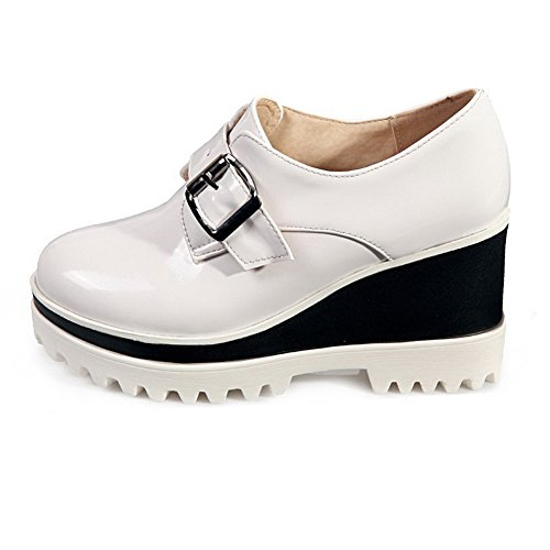 AgooLar Damen Hoher Absatz Rein Schnalle Lackleder Rund Zehe Pumps Schuhe Weiß