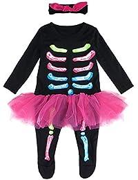 Mombebe Bebé Niña Halloween Disfraz Esqueleto Mameluco con Venda
