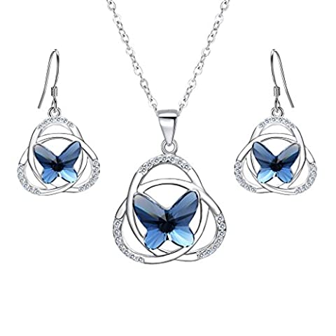 EVER FAITH® 925 Sterling Silver CZ Celtic Knot Butterfly Pendant Necklace Earrings Set Navy Blue Adorned with Crystals from Swarovski®