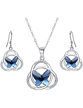 EVER FAITH® 925 Sterling Silber CZ Celtic Schleife Schmetterling Pendant Halskette Ohrringe Set Navy blau geschmuckt...