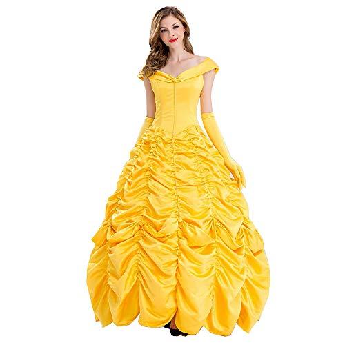 Schönheit und das Biest Bell Princess Kostüm Belle Kostüm Party Kostüm COS Belle Prinzessin Kleid (Rock + Handschuhe),Gold,XL ()