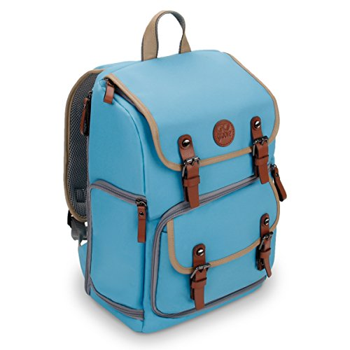 GOgroove Digital SLR Kamera Rucksack (mittleres Volumen Blau) mit Tabletfach, anpassbare Trennwände für Zubehör, Stativhalter und wetterfesten Regenschutz für Canon, Nikon, Olympus und mehr -