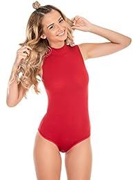 Evoni Damenbody ohne Träger | Damen Overall Bodysuit mit Halbkragen | Verschluß-Haken Größen | Unterzieh-Body mit optimaler Passform | Stilvoller Damen-Body