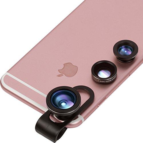 Handy Objektiv 3 in 1: 180º Fisheye, 0,65x Weitwinkel & 12x Makro – Für Smartphone (Samsung, Sony, iPhone 6 & 7) & Tablet Kamera Objektiv, von Key and Arbor