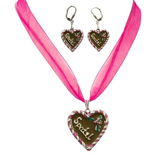 Alpenflüstern Damen Trachtenschmuck-Set Dirndlkette und Ohrringe Lebkuchenherz Spatzl pink SET00200025