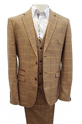 hommes Marc Darcy Vintage Tweed à carreaux 3 Combinaison une pièce - DX7 chêne - chêne, Chest UK 52(132cm) - Waist UK W44