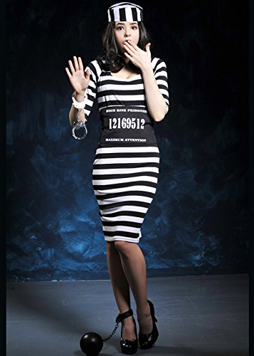 Magic Box Int. Erwachsene Womens gestreift Sträfling Kostüm Medium (UK - Lady Sträfling Kostüm