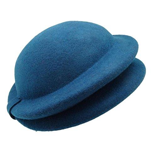HATsanity Femmes Cru La laine Se sentait Doux Plié Bordure Chapellerie Féminine Minuit-Bleu