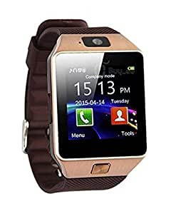 JIKRA Micromax Fire 2A104 Compatible Certified Bluetooth Smart Watch GT08 Wrist Watch Phone with Camera & SIM Card Support Hot Fashion New Arrival Best Selling Premium Quality Lowest Price with Apps like Facebook, Whatsapp, QQ, WeChat, Twitter, Time Schedule, Read Message or News, Sports, Health, Pedometer, Sedentary Remind & Sleep Monitoring, Better Display, Loud Speaker, Microphone, Touch Screen, Multi-Language, Compatible with Android iOS Mobile Tablet PC iPhone-GOLDEN