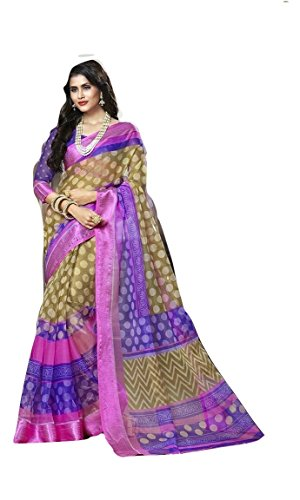 Lc Organza Saree (Lc14_Purple And Pink)