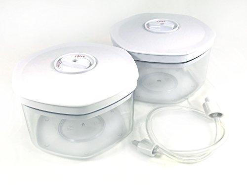 Behälter-Set Vakuumierer Dosen Vakuum Behälter Vakuum-Frischhaltedosen / Aufbewahrungsbehälter mit Deckel inkl. universal Vakuumierschlauch Spülmaschinenfest aus hochwertigem Kunststoff (5-tlg N) -