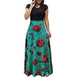 YIPIN Mujer Vestidos Casual Verano Manga Corta de Fiesta Largos Floral Impresa Color de Contraste Boho Playa Ceremonia Noche,Color 2,S