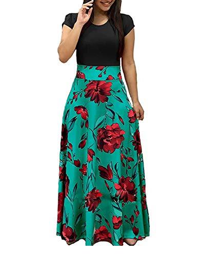 YIPIN Vestiti Donna Lunghi Manica Corta Estivi Colore Bloccato Stampa Floreale Lungo Vestito Spiaggia Cerimonia Sera,Nero + Verde,XXL