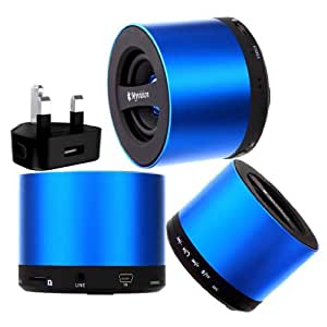 Wayzon Brand New Blue My Vision V9 Wireless 3W Portable Mini Bluetooth 3.0 Aluminium HD Audio Speaker With S D Card Reader Slot And Integrated Mic + UK Mains Plug Charger Adaptor in BONUS For Spice Mi-510 Stellar Prime / Mi-530 Pinnacle / Mi-535 Pro / Mi-720 / S-6005