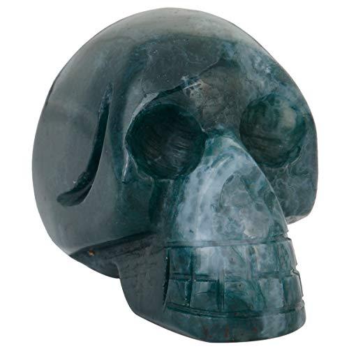 m handgeschnitzt Kristall Skull Skulptur Edelstein-Statue Figur Collectible Moss Agate ()