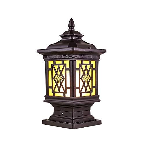 LifeX Im Freien außerhalb der braunen Säulenlampe Wasserdichte IP44-Pfosten-Säulen-Beleuchtung Druckguss-Aluminium-Sockel-Lampen-Befestigungs-Tor-Außenlampe Patio E27-Basis-Rasen-Lampen-Laterne