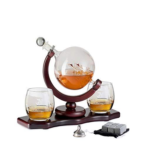Dekanter-Set aus Glas mit Whisky-Gläsern, wiederverwendbare Eiswürfel, Kirschholzständer, Zange, Trichter, Likör, Wein, Schottland, Vintage-Stil, für Zuhause, Essen, Bar (Dekanter Schiff)