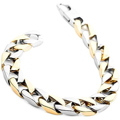 Gnzoe Uomo Acciaio inossidabile Bracciali Link Polso Polished Argento Oro - Hippy Cane