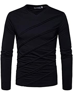 Sportides Hombre Casual Slim Fit Long Sleeve T-Shirt Tee Shirt Tops JZA198