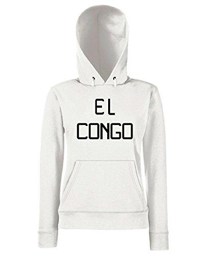 T-Shirtshock - Sweats a capuche Femme T0912 el congo calcio ultras Blanc