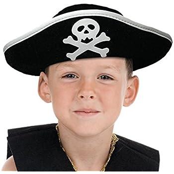 e00fae2a6baaf Chapeau de pirate noir et blanc accéssoire de déguisement de qualité  supérieure Taille unique pour enfant Ados garcon ...