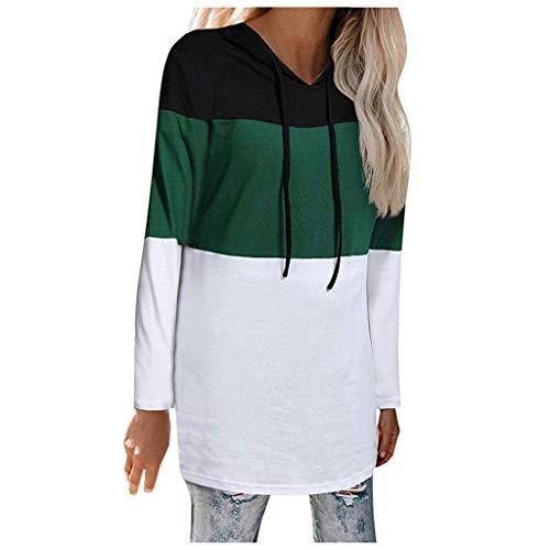 NPRADLA Damen Blockfarbe Hoodie Patchwork V-Ausschnitt Langarm Basic Shirt Lässig Laufen Tunika Tops Bluse Mädchen Kapuzenpullover(2XL,Grün) (Aristocats Kinder Kostüm)