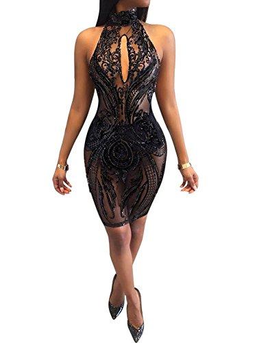 nfrei Pailletten Kleid Nachtclub Body Overall Catsuit , black , L (Pailletten-katze-anzug)
