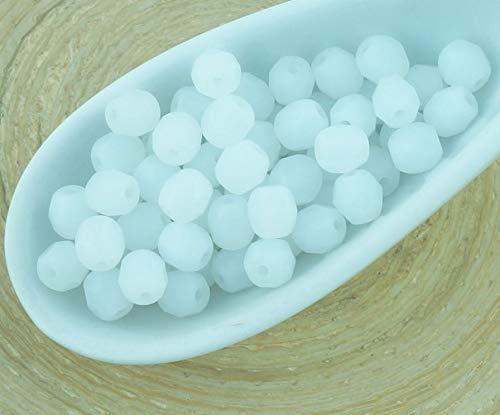 100er Matte White Alabaster Opal Mattiert, Meer Glas Runde Facettierte feuerpoliert Tschechische Glas Spacer Beads 4mm -